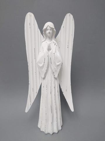 Anděl bílý plechová křídla 34cm