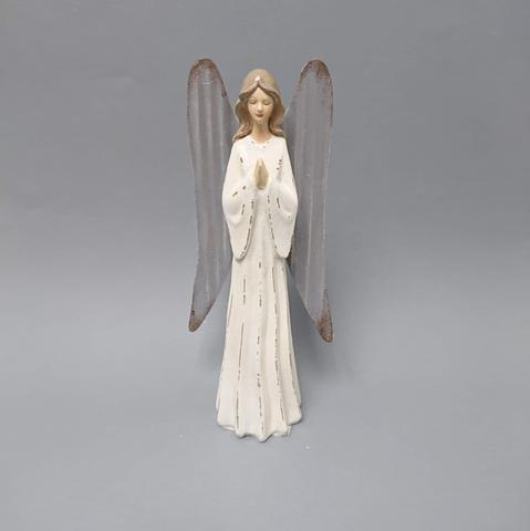 Anděl bílý plechová křídla malý