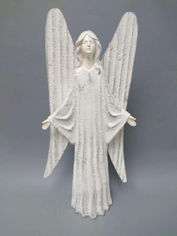 Anděl bílý plechová křídla střední
