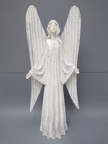 Anděl bílý plechová křídla velký
