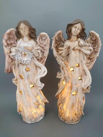 Anděl hnědobéžový svítící