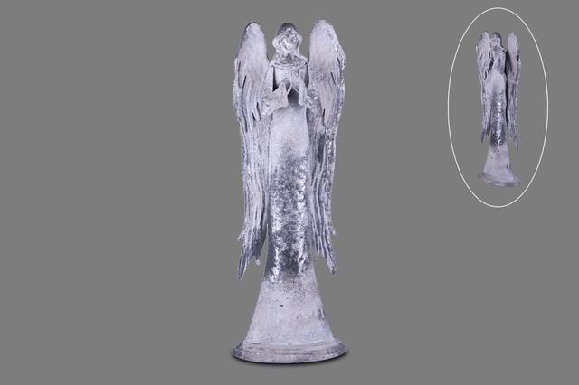Anděl plech šedý modlící se velký