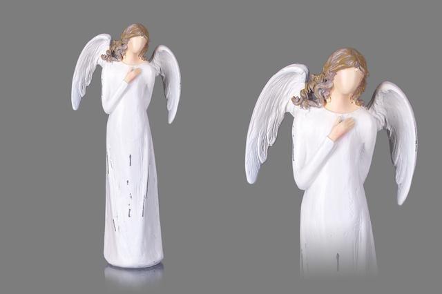 Anděl poly bílý patina střední