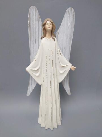 Anděl poly s kov. křídly větší