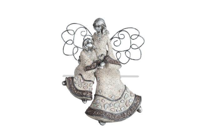 Anděl s děckem šedostříbrný sedící