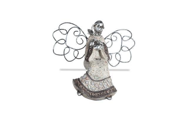 Anděl šedostříbrný sedící
