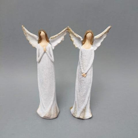 Anděl šedý zlacená křídla menší