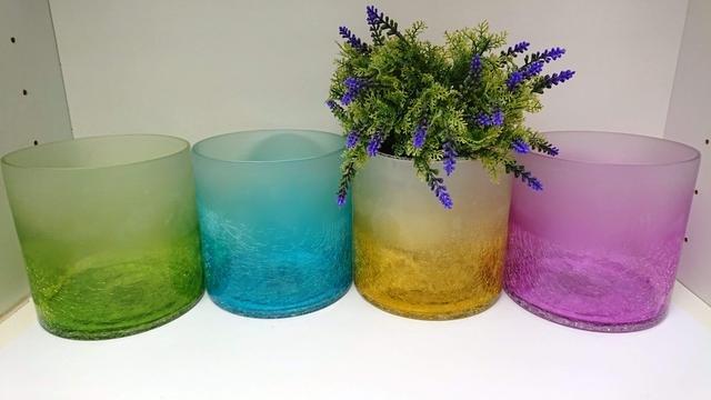 Dóza sklo barevná velká