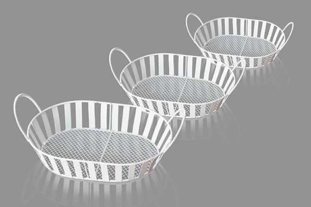 Košík bílý kov drátěné ucho sd 3ks