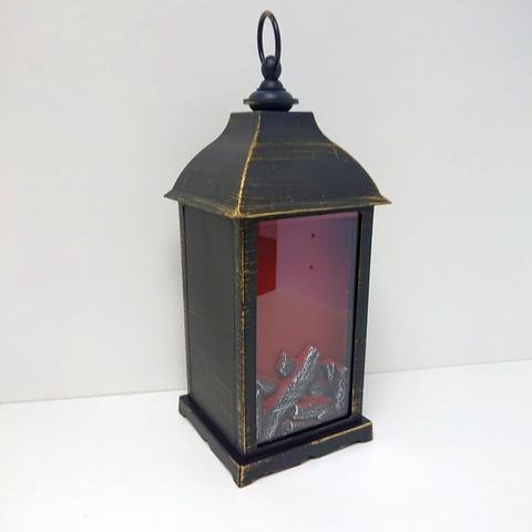 Lampa plast s ohněm černozlatá