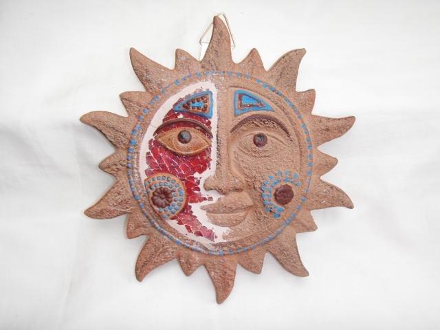 Slunce keramika hnědé se sklíčky