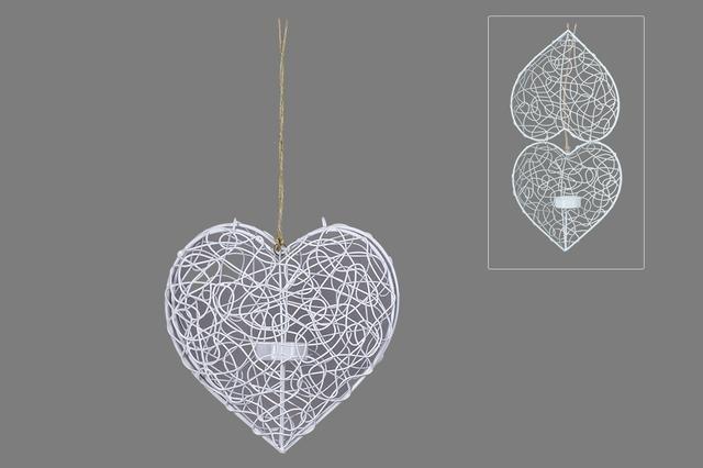 Srdce kovové bílé závěs větší