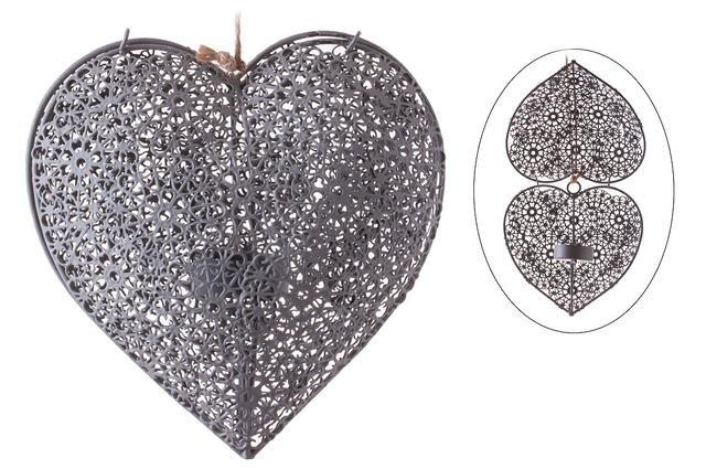 Srdce kovové šedé závěs velké