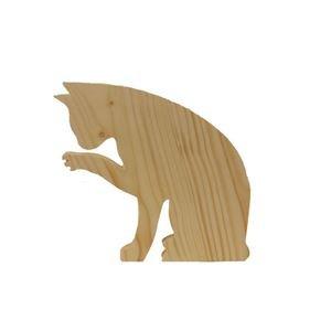 Drewniany, stojący kot