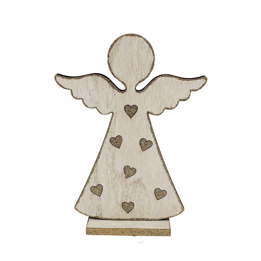 Dřevěný anděl bílý D1647