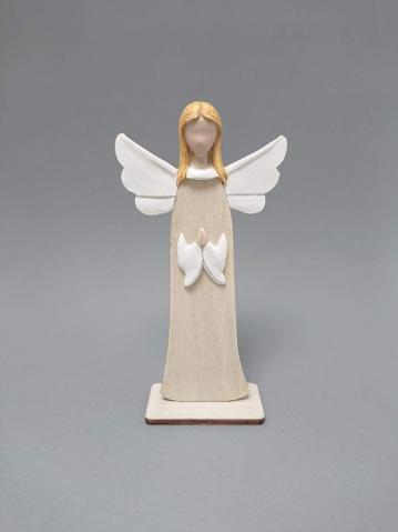 Anděl dřevo modlící se střední