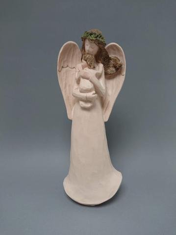 Anděl s miminkem béžový