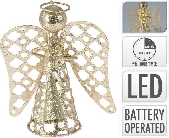 Anděl kov zlatý LED