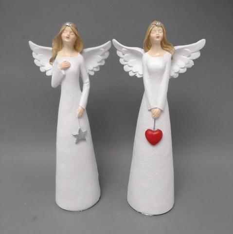Anděl bílý srdce + hvězda