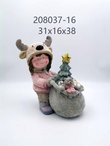 Holka v sobí čepici s dárky