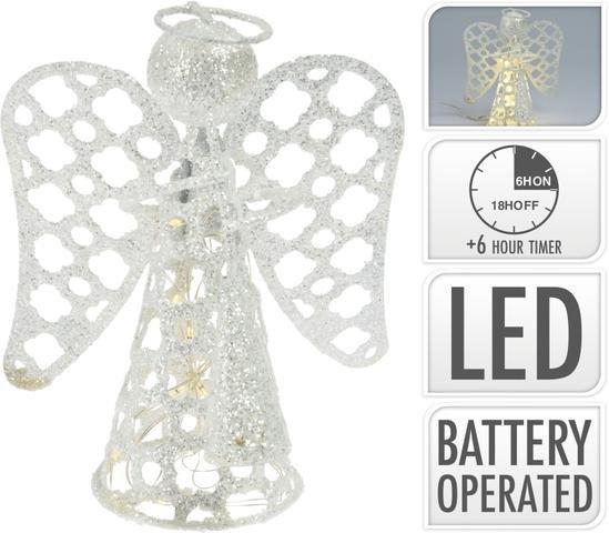 Anděl kov stříbrný LED